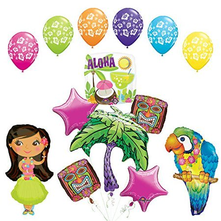 Girly Party Decorations (The Ultimate Luau Parrot and Hula Girl Party Supplies and Balloon)