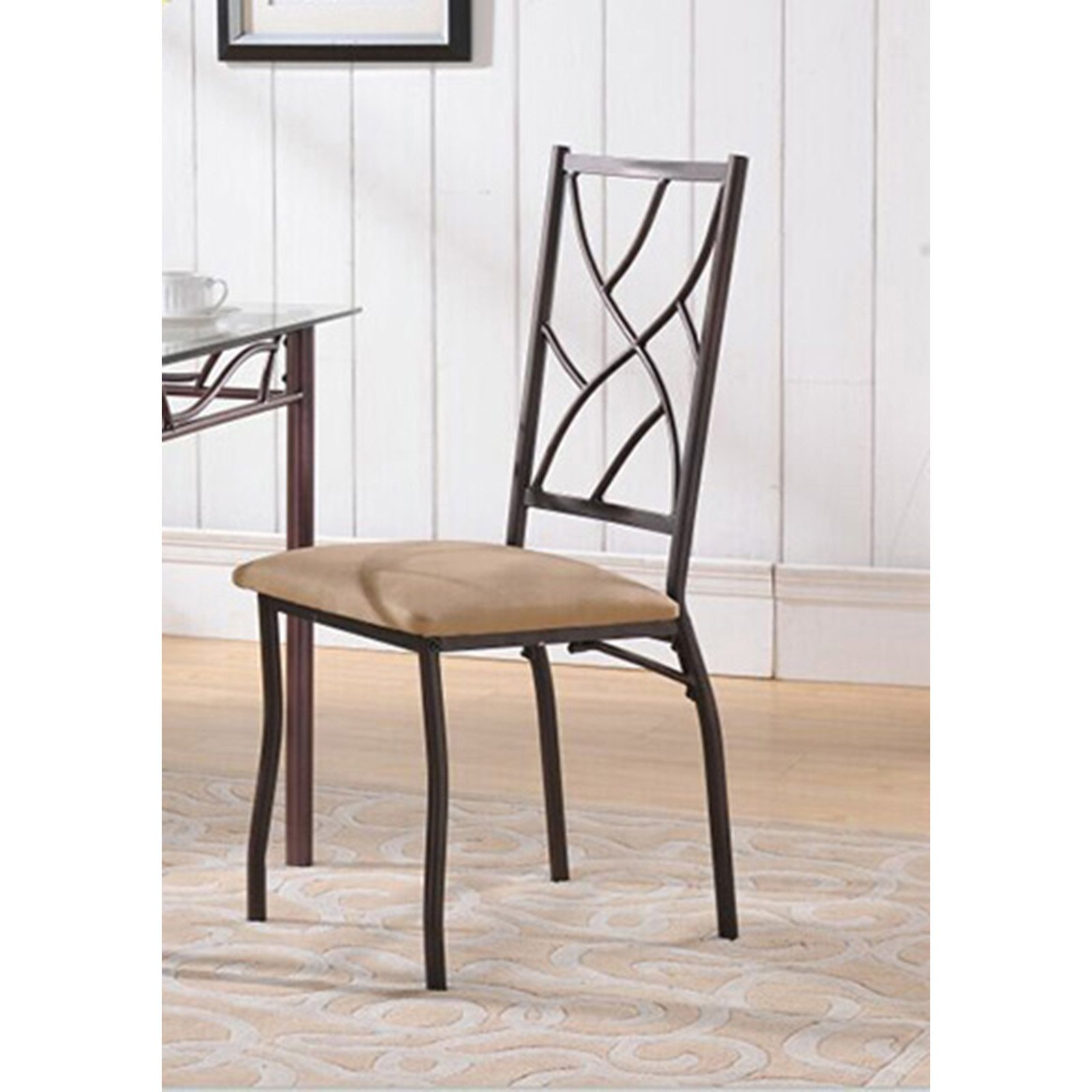 K&B Furniture Bronze Metal and Fabric Dining Chair - Set of 2