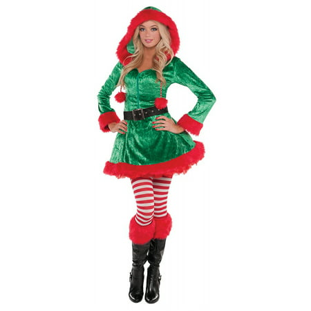 Green Sassy Elf Adult Costume - Large