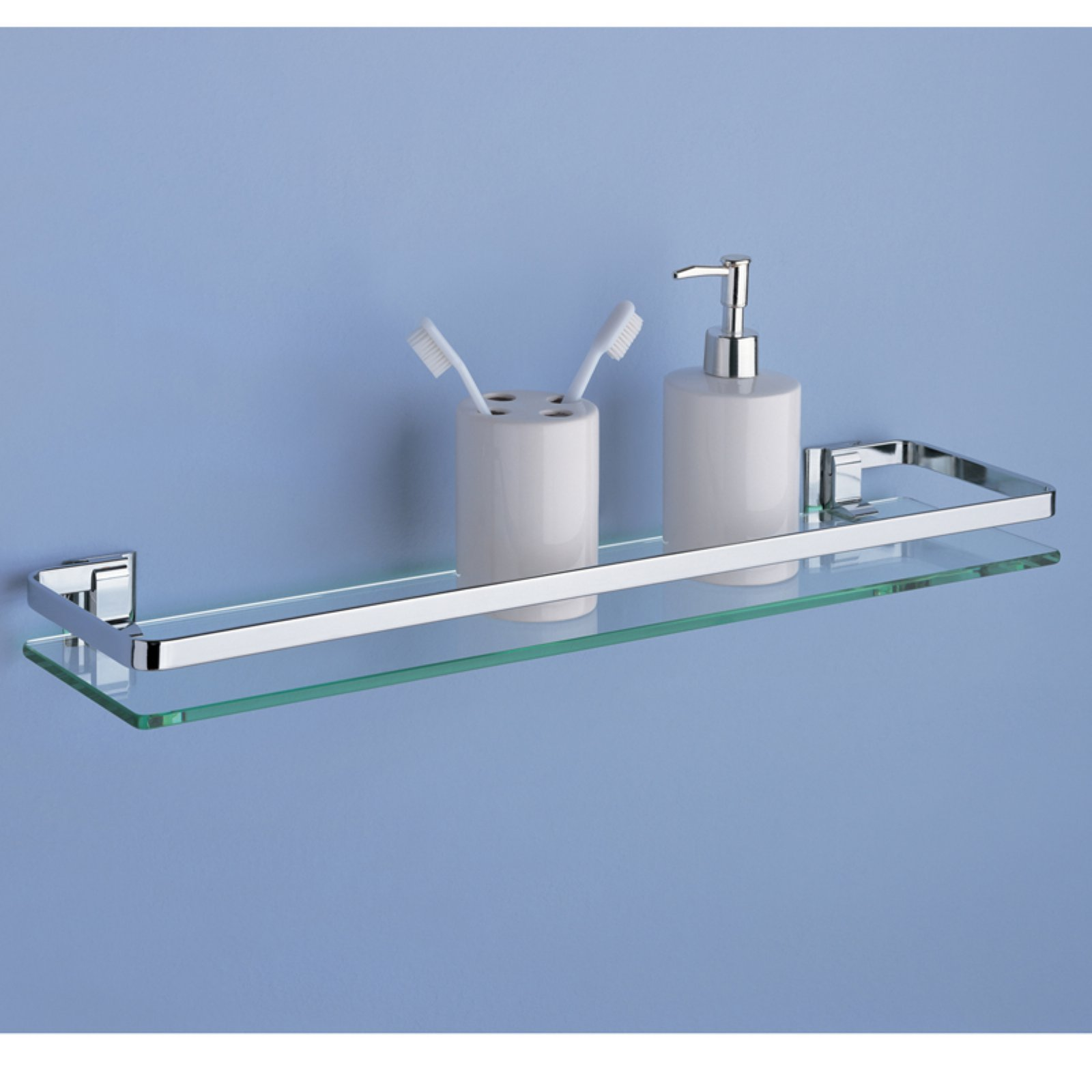 Glass Shelf with Chrome Finish and Rail - Walmart.com