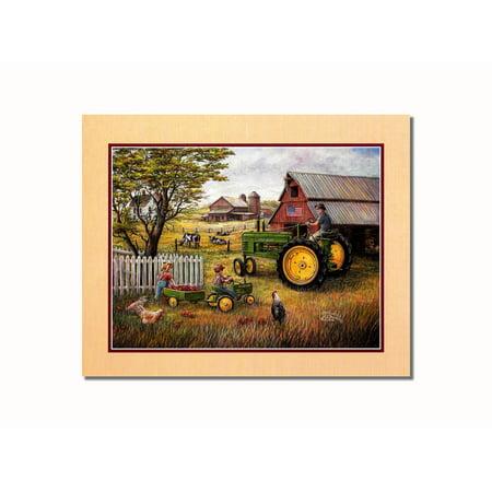 John Deere Tractor Drivin' Man Wall Picture 8x10 Art Print