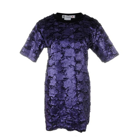 Anna Kaci S/M Fit Womens Funky Flowered Round Neck Short Sleeve Top Purple