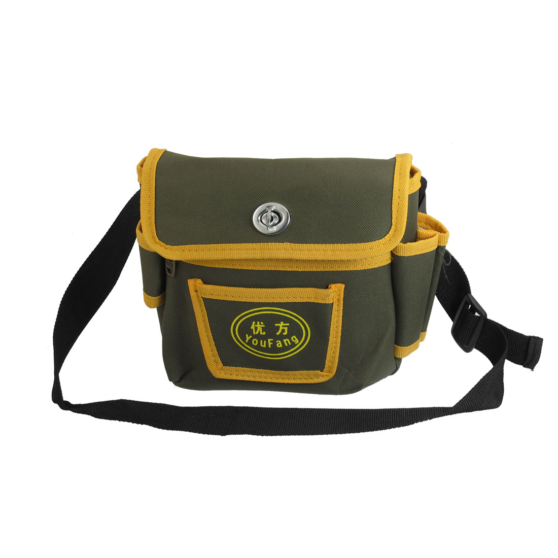 Men's Detachable Closure Cover 3 Compartments Zip up Waist Bag Army Greeen Yellow