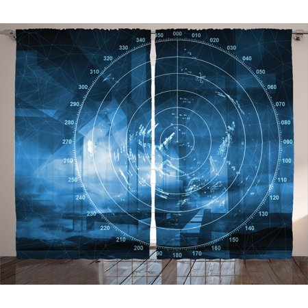 Navy Blue Curtains 2 Panels Set  Modern Ship With Radar Exposure In The Screen Digital Electronic Hi Tech Futuristic Concept  Living Room Bedroom Decor  Blue  By Ambesonne
