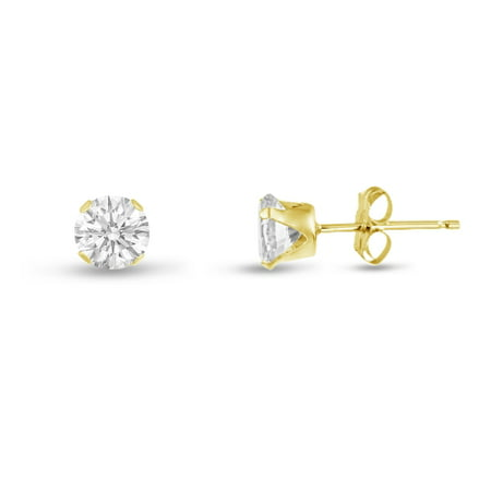Round 2mm 14k Gold Plated Sterling Silver Genuine White Topaz Stud Earrings, Free Gift Box included Gold Plated Round Stud