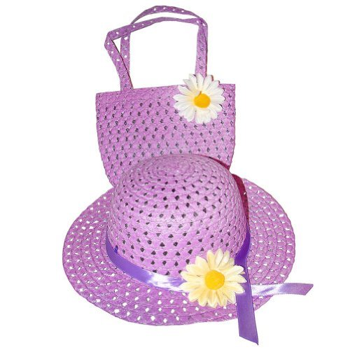 Cute Daisy Straw Hat and Handbag Children Girl Dress Up Set Woven Tea Party Hat & Purse Color:Purple