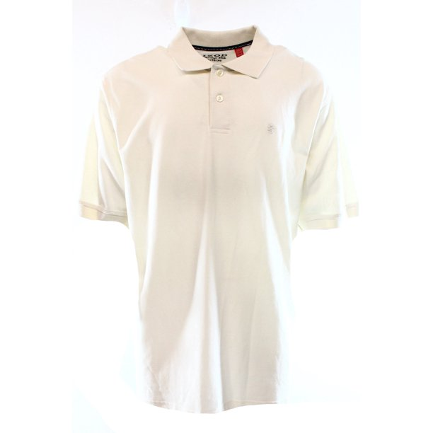 IZOD NEW White Mens Size XL Textured Side-Slit Pull-Over Polo Shirt