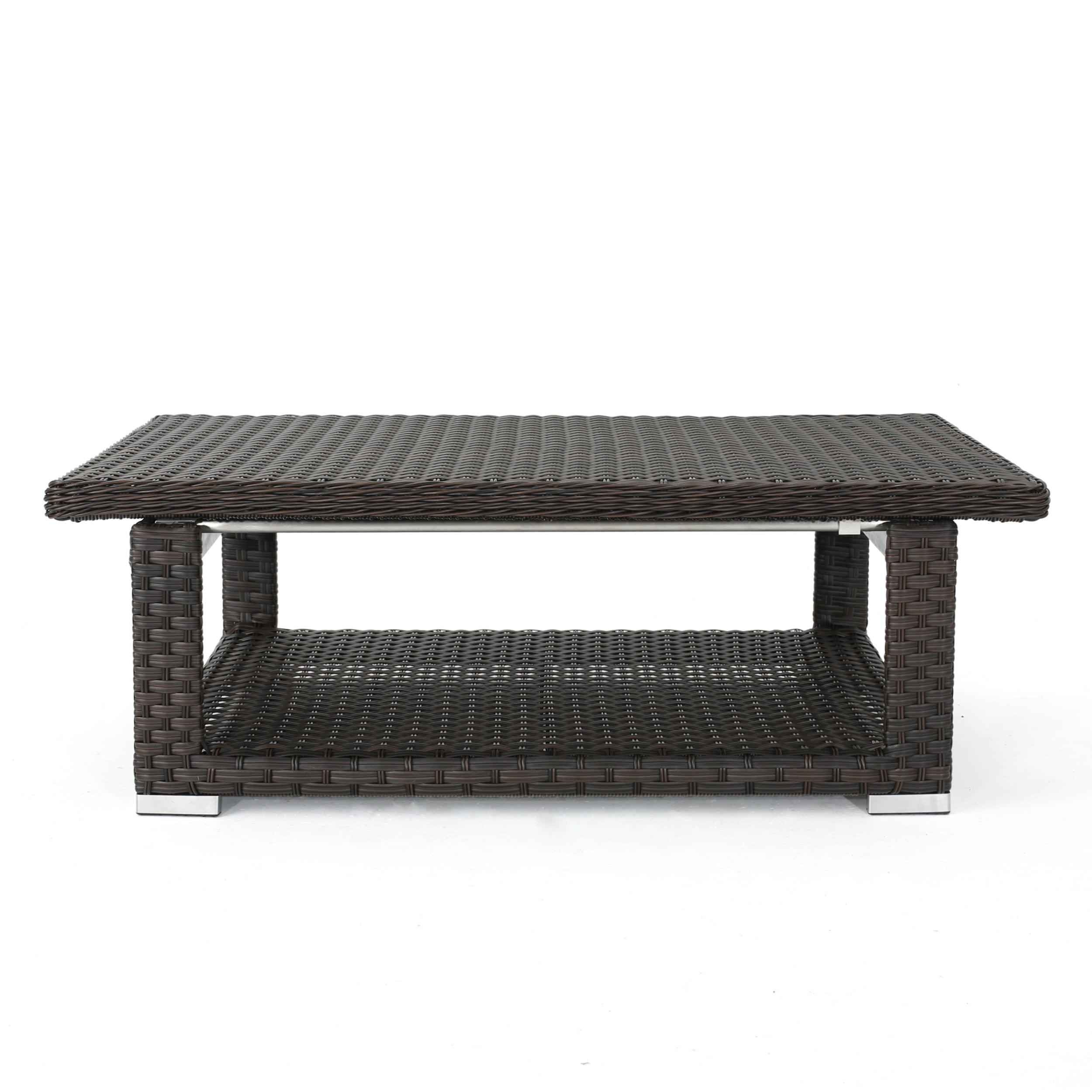 Lanie Outdoor Adjustable Wicker Aluminum Framed Coffee Table, Multibrown by GDF Studio