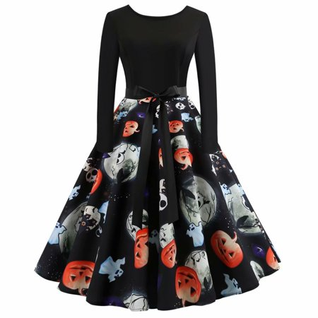 Noroomaknet Plus Size Womens Dresses Causual,Long Sleeve Flare Dresses for Halloween, Pumpkin Vintage Printing - Large Halloween Pumpkin Patterns