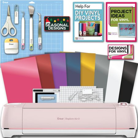 Cricut Explore Air 2 Machine Bundle Beginner Guide, Tool Kit, Vinyl Pack, Designs and Project