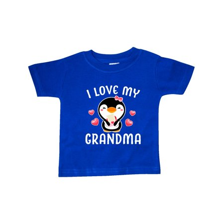 I Love My Grandma with Cute Penguin and Hearts Baby T-Shirt