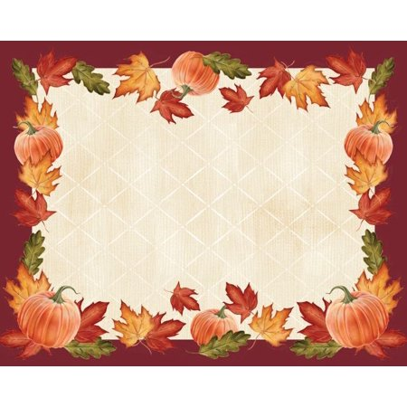 Access Pumpkins & Leaves Border Paper Placemat, 12 Ct