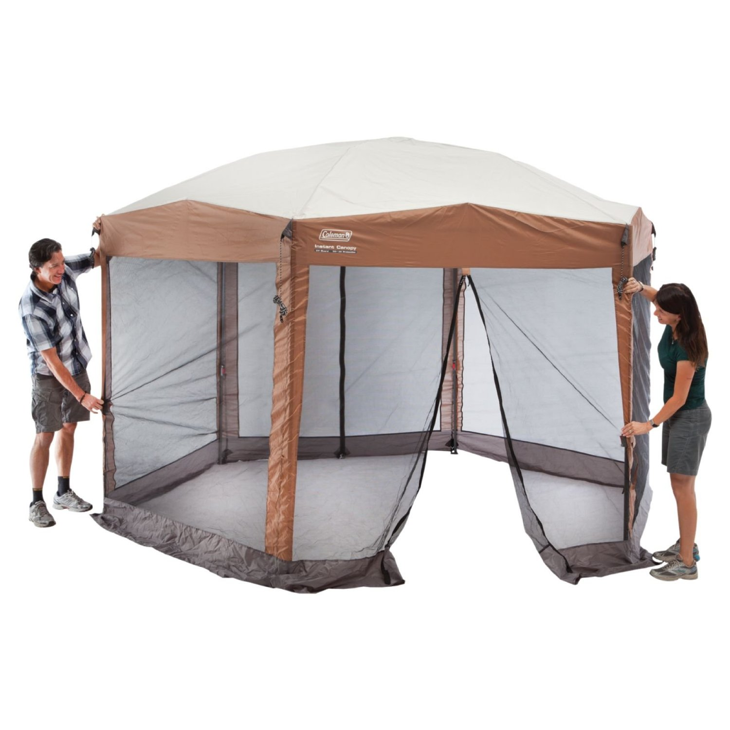 Coleman Back Home 12 x 10-Foot Instant Screen House Hexagon Canopy | 2000028003 - Walmart.com  sc 1 st  Walmart : deck canopy with screen - memphite.com
