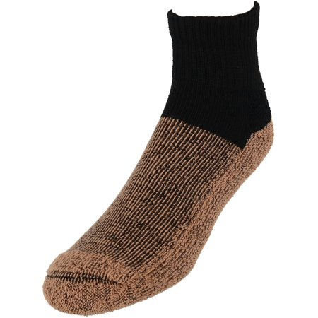 2 Pairs Copper Sole Black Ankle Socks