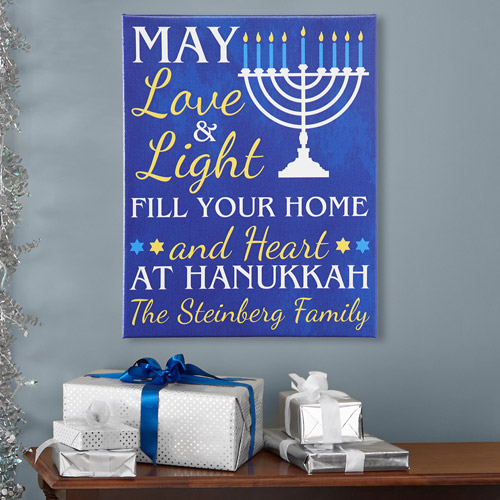 Personalized Love & Light at Hanukkah Canvas