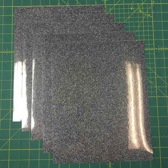 "Black Siser Glitter Five (5) 10""x12"" Sheets of Iron-on Heat Transfer Vinyl Sheets"