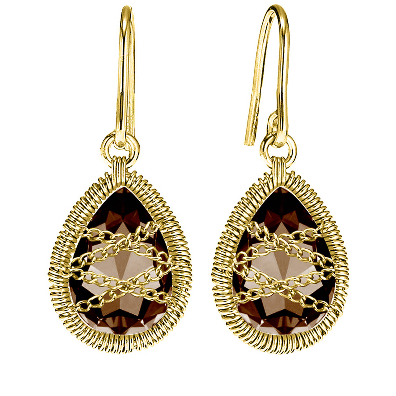 Image of 5th & Main 18kt Gold over Sterling Silver Hand-Wrapped Teardrop Smokey Quartz Earrings