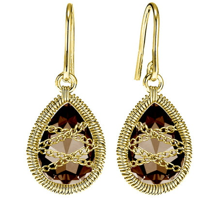 18kt Gold over Sterling Silver Hand-Wrapped Teardrop Smokey Quartz Earrings Cushion Smokey Quartz Earring