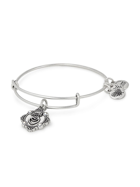 Mom Crystal Charm Bangle Bracelet