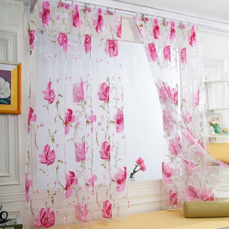 1 PCS Vines Leaves Tulle Door Window Curtain Drape Panel Sheer Scarf (Gibson Acoustic J45 Vine)