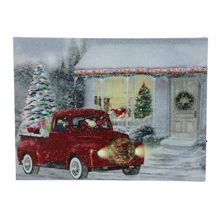 "LED Fiber Optic Lighted Retro Red Truck Christmas Wall Art 12"" x 15.75"""