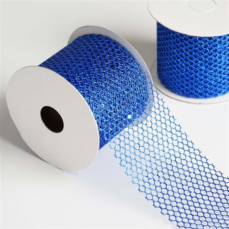"10 Yards 2.5"" DIY Royal Blue Glittery Hexagonal Mesh Ribbon For Craft Dress 2PK"
