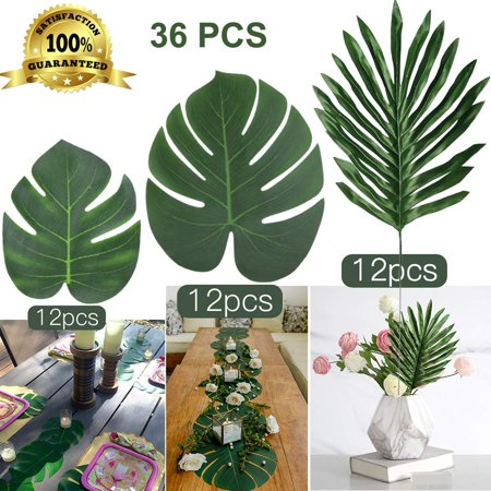 Coolmade Faux Palm Leaves with Stems Artificial Tropical Plant Imitation Safari Leaves Hawaiian Luau Party Suppliers Decorations (36PCS 3kinds) (Luau Leaves)