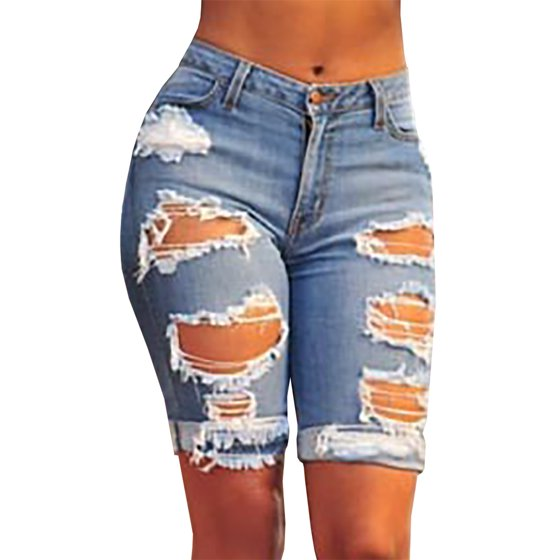 e3207dc5e276 SySea - Women Holes Ripped Jeans Summer Casual Denim Capris Knee-length Pants  Woman's Trousers - Walmart.com