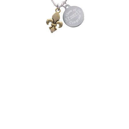 Goldtone Fleur de Lis Class Of 2017 Congrats Engraved
