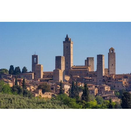 San Gimignano, Siena Province, Tuscany, Italy. The famous towers of the medieval town. The histo... Print Wall
