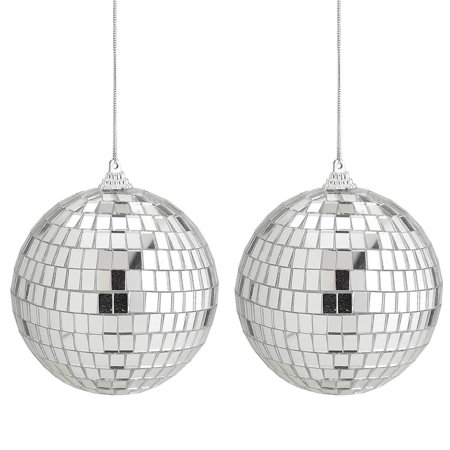 Mirror Disco Ball 2 Pack - 4-Inch Cool and Fun Silver Hanging Party Disco Ball - Party decorations, Party Design, Dance and Music festivals- By Kidsco - Music Festival Decoration Ideas