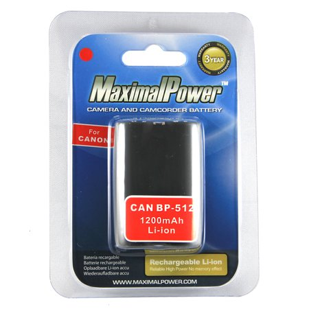 MaximalPower DB CAN BP-512 Replacement Battery for Canon Digital Camera/Camcorder (Gray) Bp 512 Compatible Battery