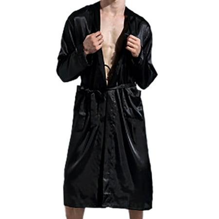Weefy Men Silk Satin Pajamas Kimono Bath Robe Dressing Loungewear Long Robe