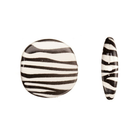 Zebra Rounded Square Plate Acrylic Beads 22.4x5.8mm pack of 50Gram/24pcs (2-pack Value Bundle), SAVE $1 ()