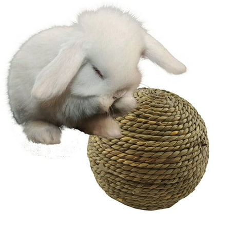 Pet Chewing Toy Natural Grass Ball for Rabbit Hamster Small Rodents Teeth Grinding Cleaning Toy