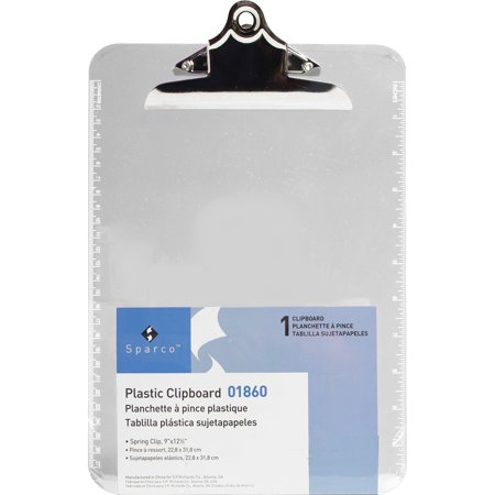 Sparco, SPR01860, Plastic Clipboards, 1 Each, Clear