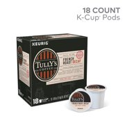 Tully's Coffee Decaf French Roast K-Cup Pods, Dark Roast, 18 Count for Keurig Brewers