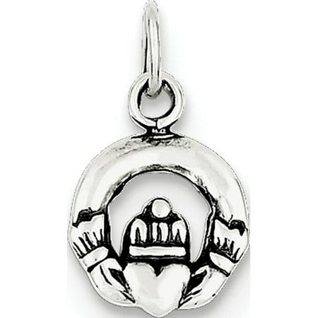 Sterling Silver Claddagh Pendant (Leslies Fine Jewelry Designer 925 Sterling Silver Mini Antiqued Claddagh (10x12mm) Pendant Gift)