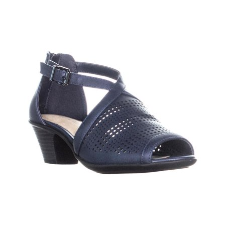 Womens Easy Street Anita Heeled Sandals, Navy, 5.5