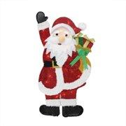 "32"" Lighted Tinsel Waving Santa Claus with Gift Christmas Yard Art Decoration"