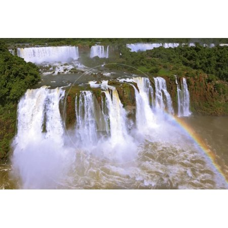 The Best-Known Falls in the World - Iguazu. the Magnificent Rainbow Costs over Roaring Water Stream Print Wall Art By