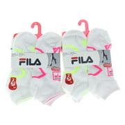12 Pairs Fila White Low Cut Women's Ankle Socks Size 9-11 Shock Dry