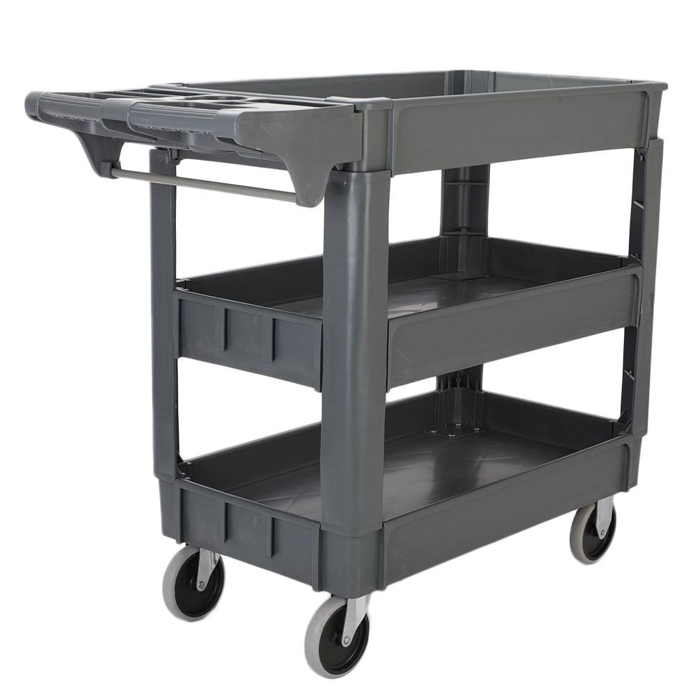 Ktaxon 550 LB Heavy Duty Utility Service Cart 3 Shelf Push Hand Truck Rolling Tool Cart by