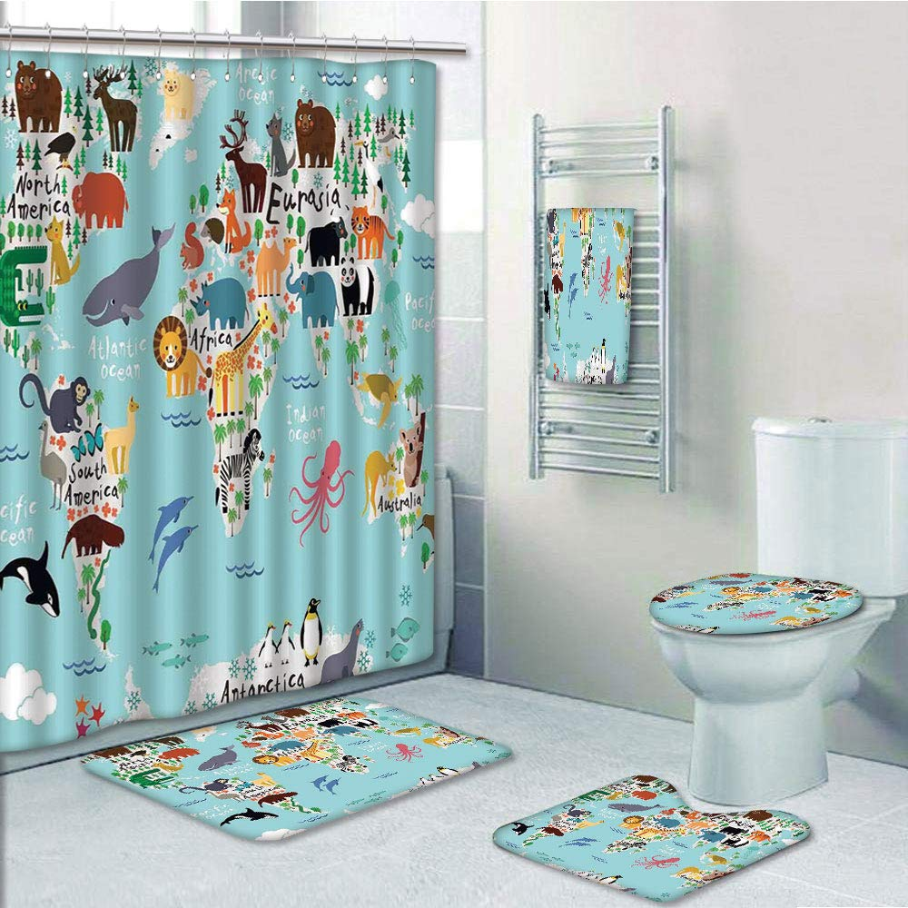 American Football Shower Curtain Bath Mat Toilet Cover Rug Bathroom Decor