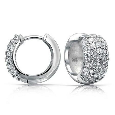 Silver Cubic Zirconia Wide Huggie Hoop Earrings