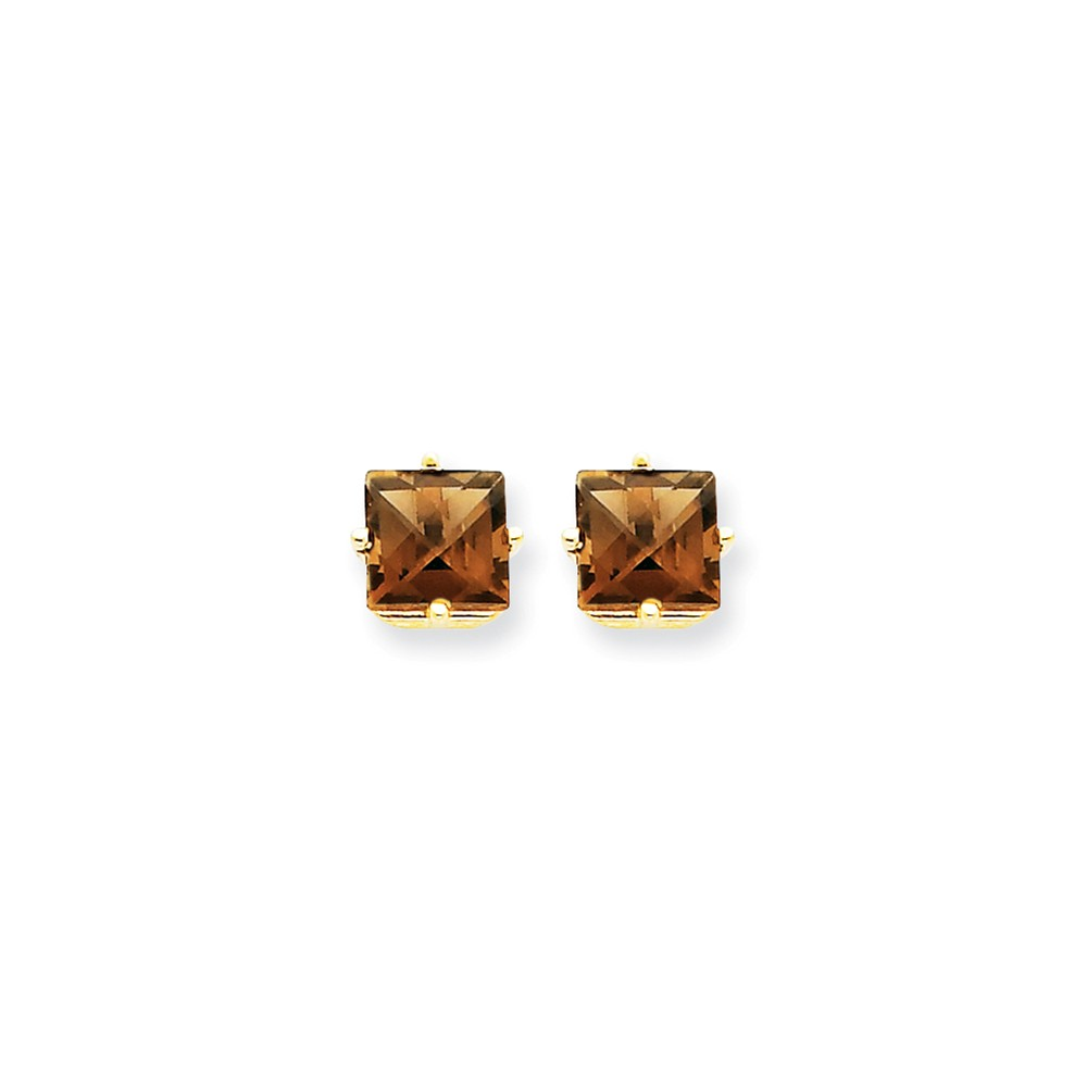 14k Yellow Gold 6mm Square Smokey Quartz Earrings Gem Wt- 2.1ct