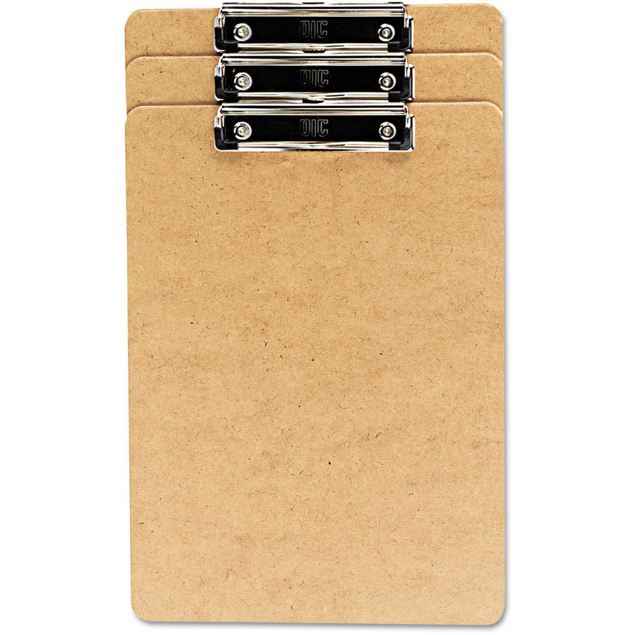 """Universal Recycled Clipboard, 1/2"""" Capacity, Holds 8-1/2w"""" x 14""""h, Brown, 3-Pack"""