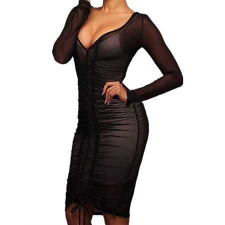 Mesh Patchwork Women Sexy Long Sleeve Bandage Dress