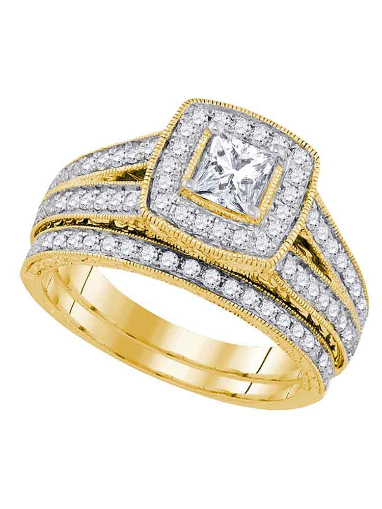 14kt Yellow Gold Womens Natural Diamond Princess Bridal Wedding Engagement Ring Band Set (1 &.25 cttw.) size- 5.5 by