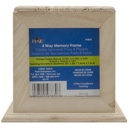 Wood Memory Box Cube W/4 Picture Frames-5 75